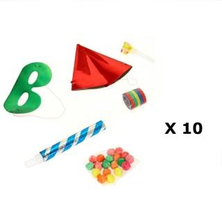 10 Kits de fête Cotillons - 6 Accessoires  - Rouge