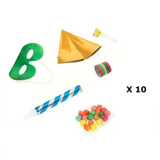 10 Kits de fête Cotillons - 6 Accessoires  - Jaune