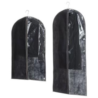 2 Housses pour costume - 135 x 60 et 100 x 60 cm - Noir et taupe