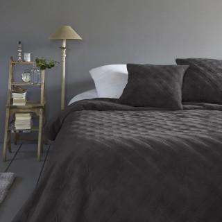 Dessus de lit avec 2 Taies Velours - 240 x 260 cm - Gris foncé