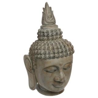 Statuette tête de Bouddha - H. 65 cm - Effet pierre