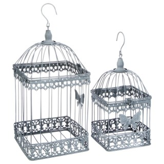 2 Cages à oiseaux décoratives Niena - Métal - Gris