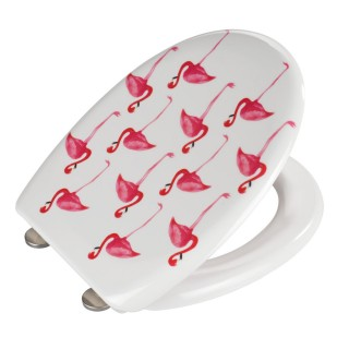 Abattant WC Flamant rose - Abaissement automatique - Blanc et rose