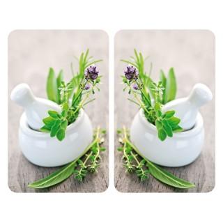 2 Couvre-plaques universel Herbes - 30 x 52 cm - Vert et blanc