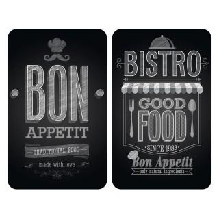 2 Couvre-plaques universel Bistrot - 30 x 52 cm - Noir