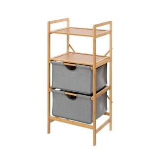 Etagère de salle de bain en bambou 2 Tiroirs - H. 96 cm - Gris