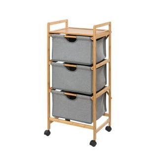 Etagère de salle de bain en bambou 3 Tiroirs - H. 96 cm - Gris