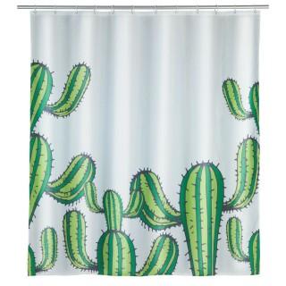 Rideau de douche Cactus - Polyester - 180 x 200 cm - Blanc