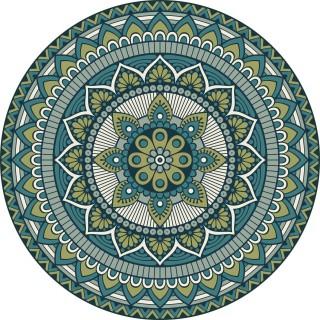 Tapis Vinyle rond Lucas - Diam. 100 cm - Vert