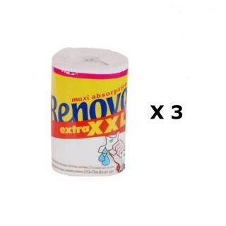 Lot de 3 - Essuie-tout Axi Absorption XXL - 120 Feuilles - Blanc