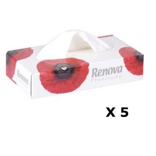 Lot de 5 - Boîte à mouchoirs Fleurs - 80 Mouchoirs - Blanc