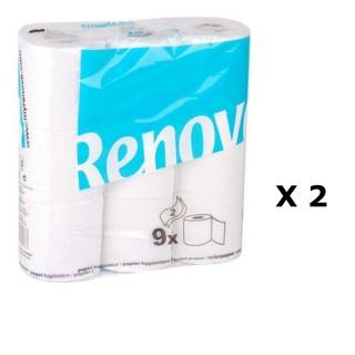 Lot de 2 - 9 Rouleaux de papier hygiénique - Double plis - Blanc