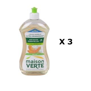 Lot de 3 - Liquide vaisselle Super Dégraissant - 500 ml - Parfum melon