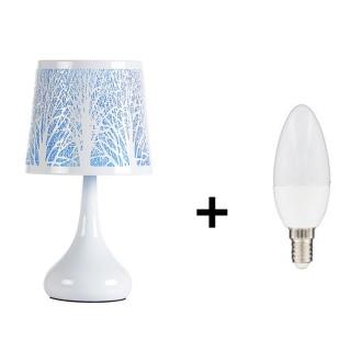 Lampe de chevet touch Arbre - Ampoule incluse - Bleu turquoise