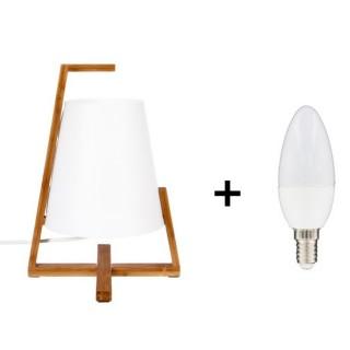 Lampe de chevet Bambou - Ampoule incluse - Blanc