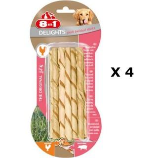 Lot de 4 - 10 bâtonnets Twisted Sticks - Viande de Porc - Taille XS