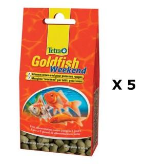 Lot de 5 - Nourriture Poissons rouges Tetra Goldfish Week-end - 40 sticks
