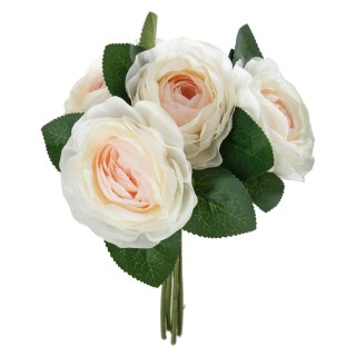 Bouquet artificiel de 5 Roses - H. 30 cm - Blanc et rose