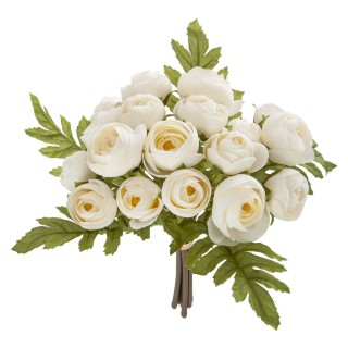 Bouquet artificiel de 18 Camélia - H. 30 cm - Blanc