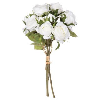 Bouquet artificiel de 14 Roses - H. 40 cm - Blanc