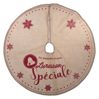 Tapis pour sapin de Noël - Diam. 90 cm - Marron et rouge