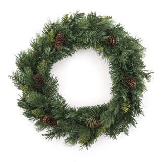 Couronne de Noël avec pommes de pin Royal - Diam. 40 cm - Vert