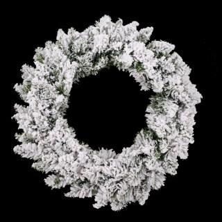 Couronne de Noël avec Flocons Blooming - Diam. 40 cm - Blanc