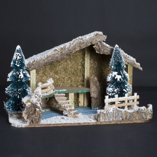 Crèche traditionnelle de Noël vide - Décor sapin - 40 x 21 cm