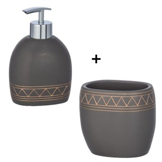 Accessoires de lavabo - Gobelet et distributeur de savon Etrusk - Gris