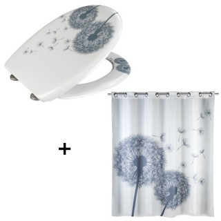 Accessoires de salle de bain - Abattant WC et rideau de douche Astera - Blanc