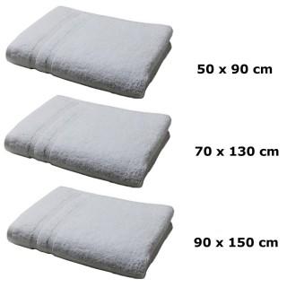 Lot linge de bain - Une serviette de toilette, un drap de bain et maxi drap bain - Gris clair
