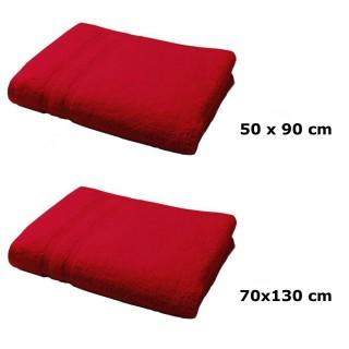 Lot linge de bain - Une serviette de toilette et un drap de bain - Rouge