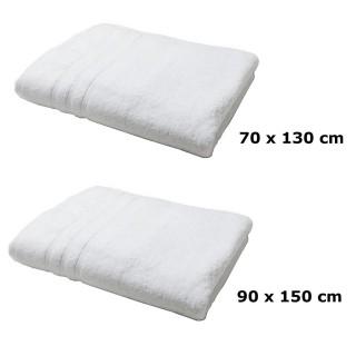 Lot linge de bain - Une serviette de toilette et un drap de bain - Blanc