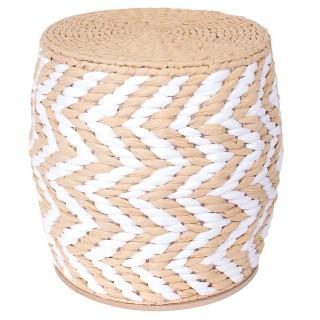 Tabouret tressé ethnique Voani - Diam. 40 cm - Marron et blanc