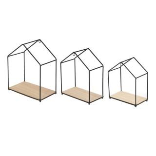3 Etagères filaires Maison - Bois et métal - Noir