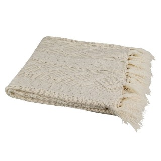 Plaid tricot Cocooning - 150 x 120 cm - Ecru