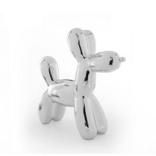 Tirelire en céramique Crazy Dog - H. 21,6 cm - Argent