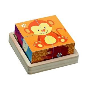 Puzzle en bois à 4 Cubes - Jouet éveil - Singe