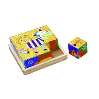 Puzzle en bois à 9 Cubes - Jouet éveil - Zèbre