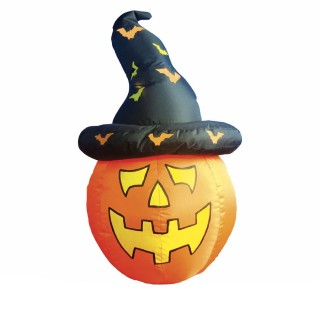 Décoration d'Halloween - Citrouille chapeau gonflable - H. 123 cm