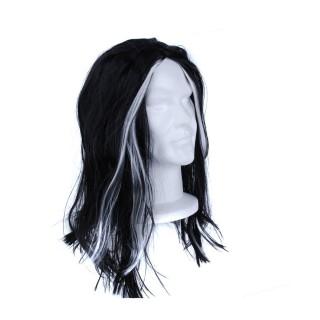 Déguisement d'Halloween - Perruque femme Sorcière - Noir et blanc