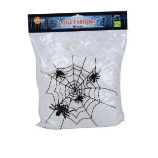 Décoration d'Halloween - Toile d'araignée + 30 Araignées - Noir