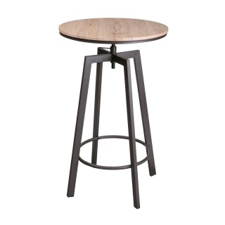 Tabouret de bar industriel Factory - H. 93/101 cm - Marron