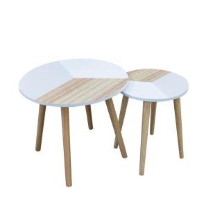 2 Tables gigognes tricolore Scandinave - Diam. 43 cm - Beige et blanc