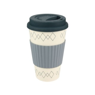 Mug en fibre de bambou - 400 ml - Gris et blanc