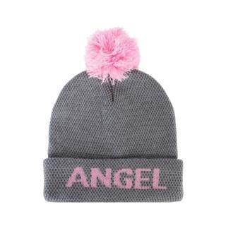 Bonnet à pompon femme - Angel - Gris et rose