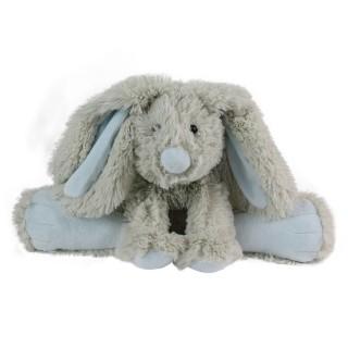 Peluche doudou lapin - H. 25 cm - Bleu