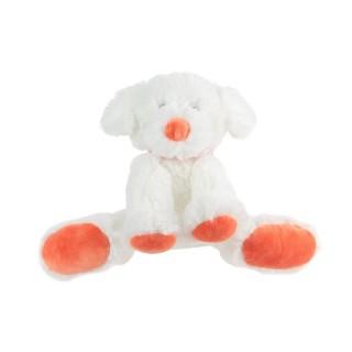 Peluche doudou assis - H. 18 cm - Orange