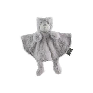 Peluche doudou marionnette Ours - H. 28 cm - Gris
