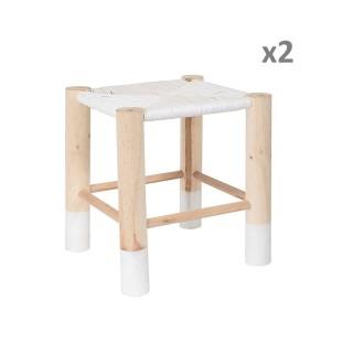 2 Tabourets Scandinave - 30 x H. 35 cm - Blanc